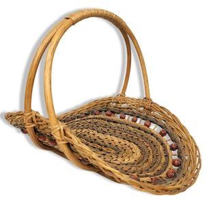 Wicker Woven Vintage Floral/Herb Gathering Basket